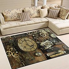 Use7 Vintage Steampunk Ancient Gears Area Rug Rugs