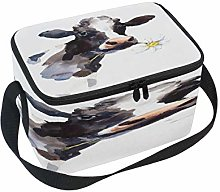 Use7 Watercolor Cow Daisy Flower Insulated Lunch
