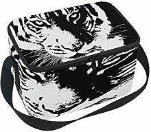 Use7 White Black Animal Tiger Insulated Lunch Bag