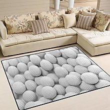 Use7 White Golf Ball Area Rug Rugs for Living Room