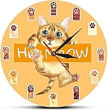 Usmnxo 12 inches frameless cat paw art clock for