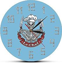 Usmnxo 12 inches frameless chef wall clock watch