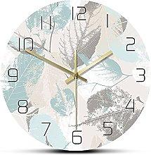 Usmnxo 12 inches frameless leaf pattern wall clock
