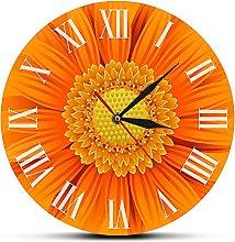 Usmnxo 12 inches frameless orange decorative clock