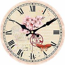Usmnxo 12inch clock pink flower mute home office