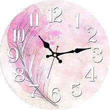 Usmnxo 12inch pink design clock art watch silent