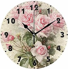 Usmnxo 12inch vintage shabby floral print silent
