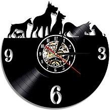 Usmnxo Vinyl clock cute dog wall clock cute pet
