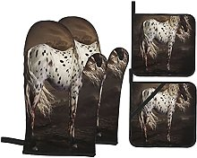 USOPHIA Oven Mitts and Pot Holders Sets of 4,Horse