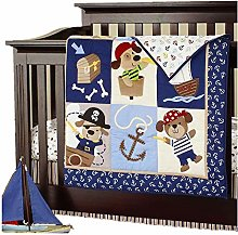 USTIDE 7-Piece Boys Cot Bedding Set Nautical Crib