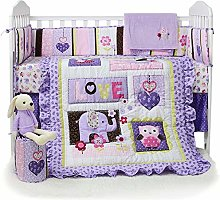 USTIDE 7-Piece Nursery Cot Bedding Set for Girls