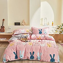 USTIDE Kids Bedding Set Rabbits Patterned Pink
