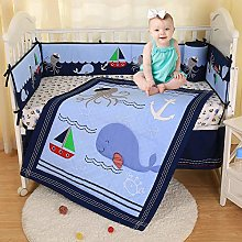 USTIDE Ocean Themed Cot Bedding Set Blue Whale