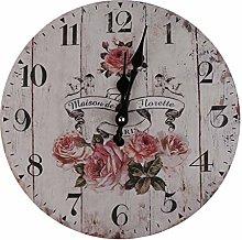 Uteruik Vintage Wall Clock Rustic Shabby Chic Home