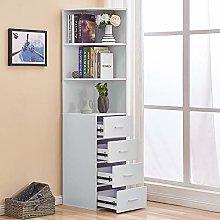 Utility 3-Tier Shelves & 4 Drawers Corner Cabinet