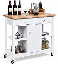Utility Wooden Movable Kitchen Storage Trolley