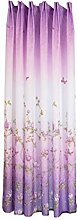 UULIKE--Curtains 1 Pcs Branches and butterflies