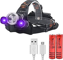 UV Headlamp, LED Head Torch Rechargeable with