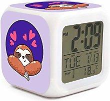 UYOYORRL Lovely Cartoon Sloth Purple Digital Alarm