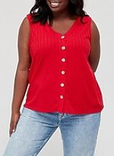 V By Very Curve Ribbed Button Front Vest - Red