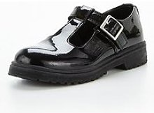 V By Very Girls Patent T-Bar School Shoe - Black