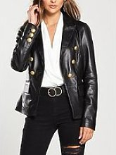 V By Very Gold Button Detail Leather Blazer - Black