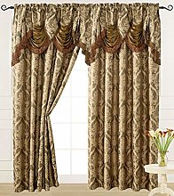 V Luxury Jacquard Curtain Panel with Attached