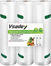 Vacuum Food Sealer Rolls 3 Pack 28cm X 6m - Total