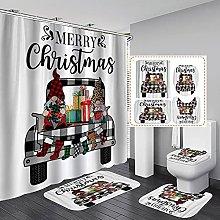 Valcatch 4Pcs Merry Christmas Bathroom Shower