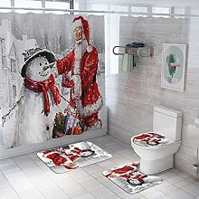 Valcatch Christmas Shower Curtain Set with Hooks,