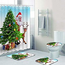 Valcatch Christmas Shower Curtain with Hooks,