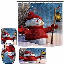 Valcatch Merry Christmas Shower Curtain,4pcs Happy