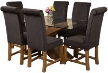 Valencia Oak Small 160cm Wood and Glass Dining