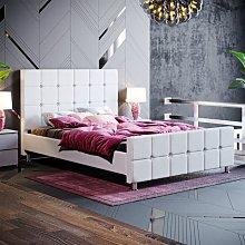Valentina Double Bed, Light Grey Linen