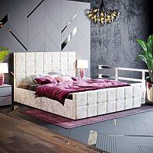 Valentina King Size Ottoman Bed, Crushed Velvet