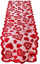 Valentines Day Table Runner, Red Heart Lace Table