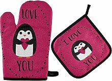 Valentines Penguin Girl Oven Mitts and Pot Holders