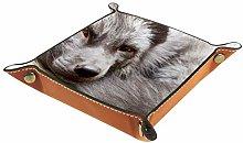 Valet Tray Desk Organizer Storage Box Leather