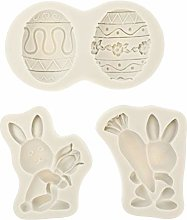 VALICLUD 3pcs Easter Rabbit Egg Silicone Mold 3D