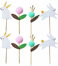 VALICLUD 48PCS Easter Rabbit Cake Toppers Lovely