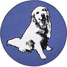 Vallila Elli Printed Rug, Polyester, Blue, 133 cm