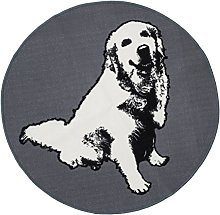 Vallila Elli Printed Rug, Polyester, Grey, 100 cm