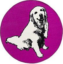 Vallila Elli Printed Rug, Polyester, Pink, 100 cm