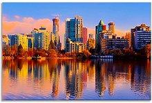 Vancouver Skyline Autumn Reflection Blue Sky