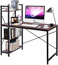 Vanimeu Brown Walnut Computer Desk with 4 Tier