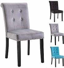 Vanimeu Grey Velvet Fabric Studded Dining Chair