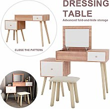 Vanimeu Oak Dressing Table with Mirror and Stool 2