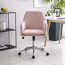 Vanimeu Pink Velvet Office Chair with Arms for