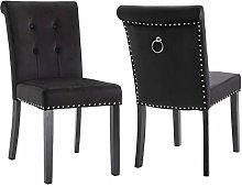 Vanimeu Set of 2 Black Velvet Dining Chair with