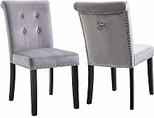 Vanimeu Set of 2 Grey Velvet Studded Dining Chair